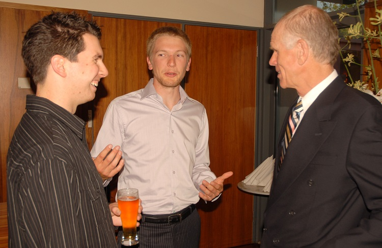 Left to right: Mountain Fund volunteers Thomas Pottage and Reece Treloar; Peter Hillary